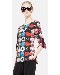 Akris Punto Record Print Silk Blouse - Lyst