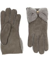 Ugg Shearling Bow Gloves - Lyst