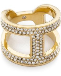 Michael Kors - Maritime Pave Link Ring - Gold/Clear - Lyst