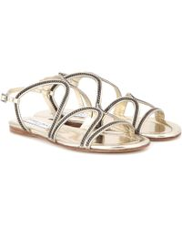 Jimmy Choo - Embellished Metallic-Leather Sandals - Lyst