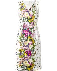 Carolina Herrera Floral-Print Fitted Dress - Lyst