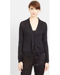 Ann Demeulemeester Sheer Embroidered Back Silk Cardigan - Lyst