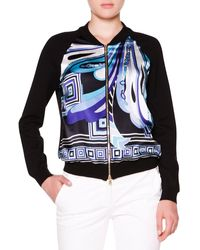 Emilio Pucci Printed-front Bomber Jacket W Solid Back - Lyst