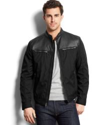 Michael Kors Michael Arabi Faux Leather Nylon Moto Jacket - Lyst