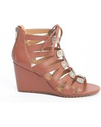 Dv By Dolce Vita Brown Leather Rhoda Buckle Accent Strappy Cage Wedge Sandals - Lyst