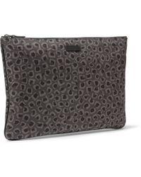 Gucci Leopardprint Leather Pouch - Lyst