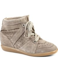 Isabel Marant Bobby Suede Wedge Trainers Grey - Lyst