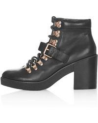 Topshop Womens Misty Hiker Boots Black - Lyst