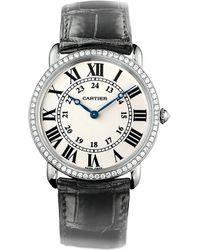 Cartier Ronde Louis 18ct White-gold Diamond and Leather Large Watch - Lyst