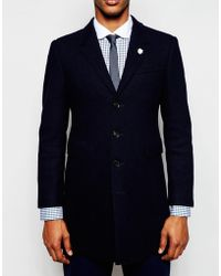 Féraud - Premium 80% Wool Blend Coat With Italian Horn Buttons And Clean Raw Edge Finishing - Lyst