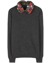 Valentino Wool and Cashmereblend Sweater with Embroidered Collar - Lyst