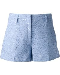 No 21 Floral Lace Shorts - Lyst