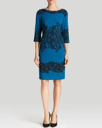 Adrianna Papell Dress  Three Quarter Sleeve Color Block Lace Print Sheath - Lyst