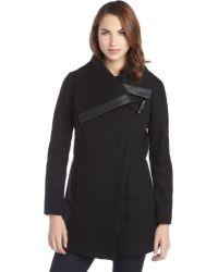 Sam Edelman Black Wool Asymmetrical Toggle Coat - Lyst