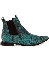 Fernanda Yamamoto - Lace-Print Leather Chelsea Boots - Lyst
