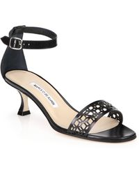 Manolo Blahnik Geo Leather Ankle-Strap Sandals - Lyst