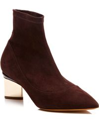 Nicholas Kirkwood Stretch Suede Platino Ankle Boots - Lyst