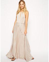 Asos High Neck Pleated Maxi Dress - Lyst