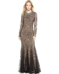 Vera Wang Collection Lace Godet Mermaid Gown  Black - Lyst