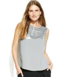 Calvin Klein Sleeveless Metallicprint Blouse - Lyst