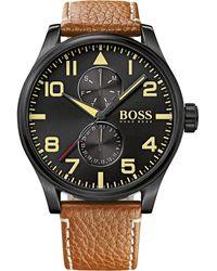 Hugo Boss Men'S Chronograph Boss Black Aeroliner Maxx Brown Leather Strap Watch 50Mm 1513082 - Lyst