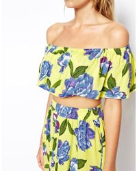Asos Lotus Floral Frill Crop Beach Top - Lyst