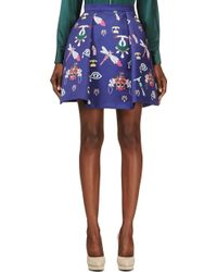 Mary Katrantzou Navy Calculon Symbol Print Skirt - Lyst