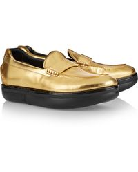Y-3 Tube Moc Metallic Leather Loafers - Lyst