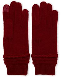 Portolano Chunky Ribbed Knit Tech Gloves - Lyst