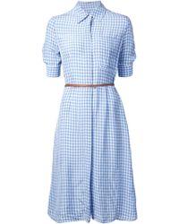 Altuzarra Gingham Belted Shirt Dress - Lyst