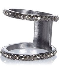 River Island Cilver Tone Diamante Encrusted Knuckle Ring - Lyst