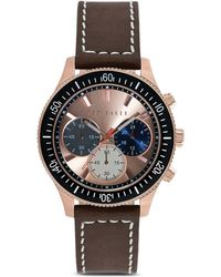 Ted Baker Rotating Bezel Leather Strap Chronograph Watch 42mm - Lyst