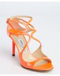Jimmy Choo Neon Flame Patent Leather 'Ivette' Strappy Sandals - Lyst