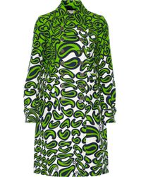 Miu Miu Printed Wool and Silk-blend Coat - Lyst