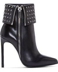 Saint Laurent Black Leather Studded Paris Boots - Lyst
