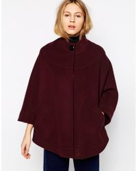Helene Berman Collarless Cape With Concealed Button Front purple - Lyst