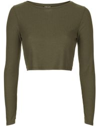 Topshop Long Sleeve Skinny Rib Crop Top - Lyst