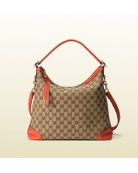 Gucci Miss Gg Original Gg Canvas Hobo beige - Lyst