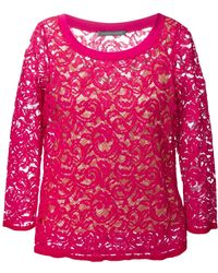 Alberta Ferretti Three-Quarter Sleeve Lace Top - Lyst