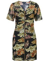 Topshop Printed Zip Front Tea Dress - Lyst
