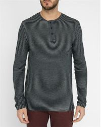 Minimum | Grey Rewe Pr Long-sleeve Striped Zip-collar T-shirt | Lyst