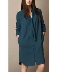 Burberry Tiedetail Crepe Dress - Lyst