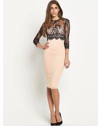 Ax Paris Lace Bodice Midi Dress - Lyst