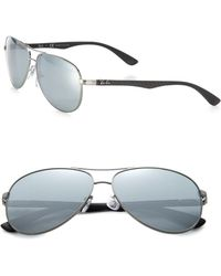 Ray-Ban Pilot 61Mm Mirrored Sunglasses silver - Lyst