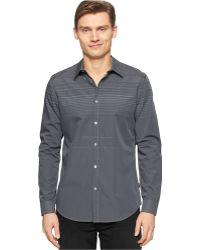 Calvin Klein Engineer Fine-Stripe Slim-Fit Shirt gray - Lyst
