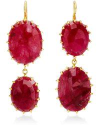Renee Lewis Gemstone Double-Drop Earrings - Lyst