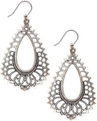 Lucky Brand - Silvertone Openwork Teardrop Earrings - Lyst