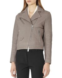 Reiss - Favour Pebbled Leather Moto Jacket - Lyst