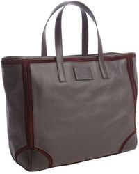 Etro - Brown Leather Burgundy Suede Trimmed Travel Bag - Lyst