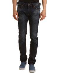 Diesel Thavar Slim Fit Faded Dark Blue Jeans Wrinkled Ankles - Lyst